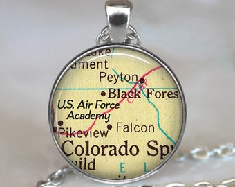 U.S. Air Force Academy map necklace, US Air Force Academy pendant, USAF Academy Air Force pendant USAF key chain key ring fob