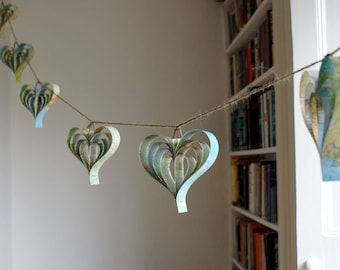 Rustic Wedding Decorations, Travel Themed, Map Garland, Heart Decorations