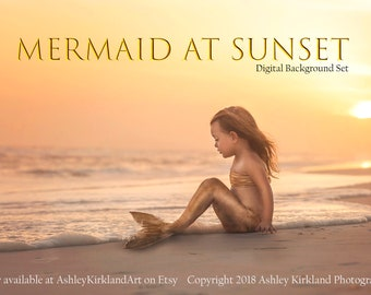 Mermaid At Sunset Digital Backdrop Set