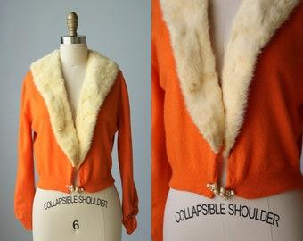 Pull en cachemire Orange Vintage / 1950 chandail avec de la fourrure col / pin up pull / col en fourrure de vison / sorbet