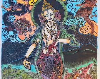 White Tara with dragon, phoenix and i'ili birds, White Tara, Tara, Buddhas, goddess, meditation, yoga arts, yoga, Hawaiian, Buddhist Art