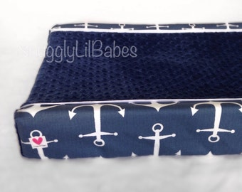 Navy anchor changing pad cover, navy minky dot