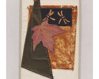 Mini Autumn Quilt Art Collage Crazy Patchwork Style Red Maple Leaf Dragonfly Wall Hanging