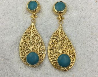 10mm Turquoise posts with 38mm filigree gold plated leaf