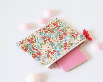 Liberty zipper pouch, zipper pouch , bag organizer, ttraveler gift, floral clutch , pink , liberty of london , flowers, girlfriend gift