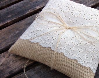 Rustic Ring Bearer Pillow in Ecru Burlap and White Eyelet Lace Trim