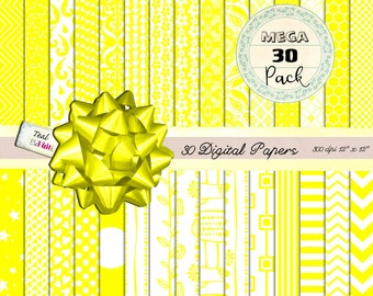 30 MEGA PACK Digital Papers in Sunny Yellow  (dots, chevrons, damask ets) for Digital Scrapbooking