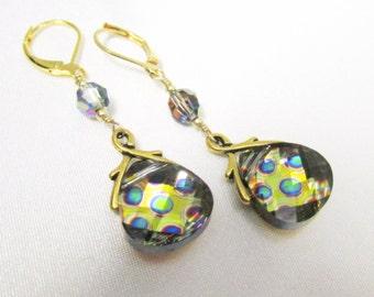 Swarovski Peacock Briolette Earrings with Vitrail Medium Crystals on 14k gold fill leverbacks