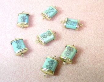 7  Vintage Glass 3/4 Inch Rectangular Beads with Gold Tone Caps  - De-Stash No. 1705
