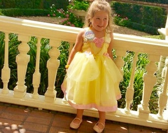 Beauty and the Beast Dress: yellow & pink flowers and ribbon, lined, Princess Birthday Party or dinner, meet and greet, parks, rides, belle