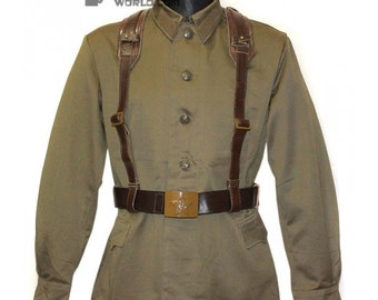 Soviet Army Russian military khaki soldier uniform gimnasterka Jacket M73 with brown kersey leather belts system