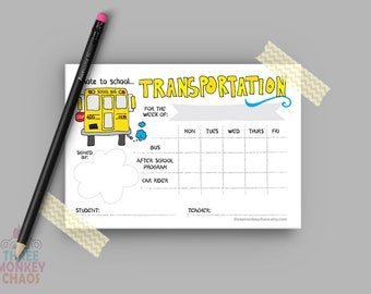 Weekly Transportation Note | Bus Note | After School Program | Car Rider | School Excuse Note | Teacher Note | Parent Note | Editable PDF