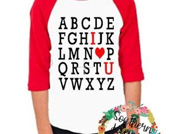 Valentines Alphabet I Love U Shirt