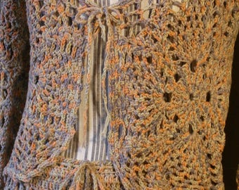 Cotton dress, made with crochet, for the summer, hand made in Italy, for girl