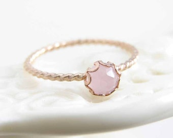 14K Gold Filled Pink Chalcedony Ring ~ Gemstone Ring ~ Gift for Her ~ Stackable Ring ~ Bridesmaid Gift ~ Simple Modern Jewelry by PetitBlue
