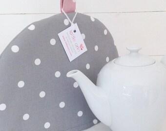 Grey Dotty Tea Cosy, Grey Tea Cosy, Dotty Tea Cosy