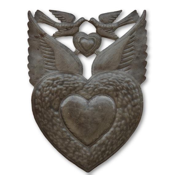 Dove Milagro Heart, Handmade Quality Haitian Metal Art, Limited Edition 24.5 x 17
