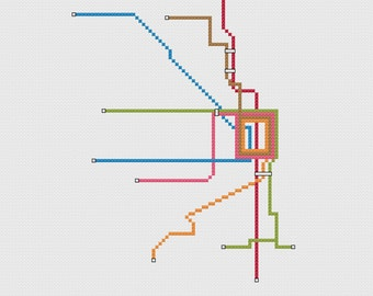 Chicago Transit Map - cross stitch pattern PDF 8x10 instant download