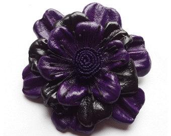Leather Flower Brooch, purple flower, leather brooch, wedding corsage, flower corsage, flower hair clip, floral brooch, flower pin, (lf27)