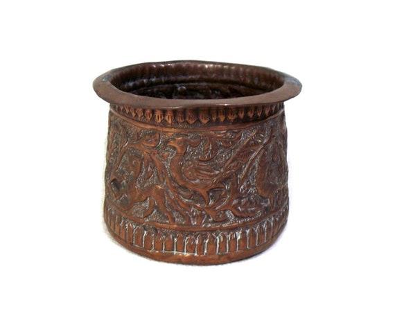 Vintage Indian Repoussé Copper Pot