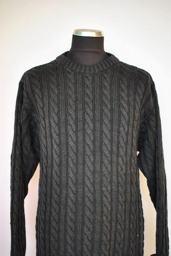Vintage HANDMADE HAND KNIT pure wool men's pullover......(045) x98q8ZM