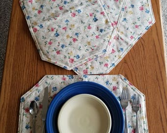 Quilt back Placemats set of 4