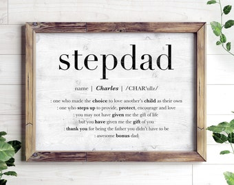 Personalized Fathers Day Gift for Stepdad, Stepdad Printable Gift, Custom Name Sign for Step Dad Stepfather Encouragement Print, Bonus Dad