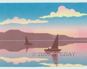 SALE ACEO SFA Reflections digital art print sailboats ocean sunset seascape limited edition nitelvr