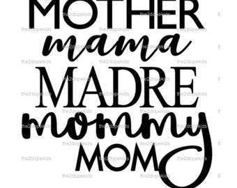 Mother Mama Madre Mommy Mom Svg File Cricut Christmas Gift Stocking Stuffer Present
