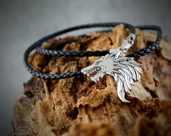 Father's Day gift, Silver Viking Wolf, Men Pendant, Silver Wolf Game of Thrones Wolf Inspired Pendant, Handmade pendant