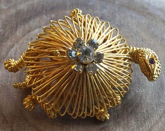 Vintage Turtle Pin Wire with Rhinestones