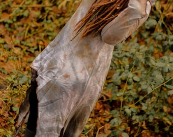 fairy pixie gypsy floor length dye grey bronze earthy pointy dress with extra long pointed sleeves and a collared hood
