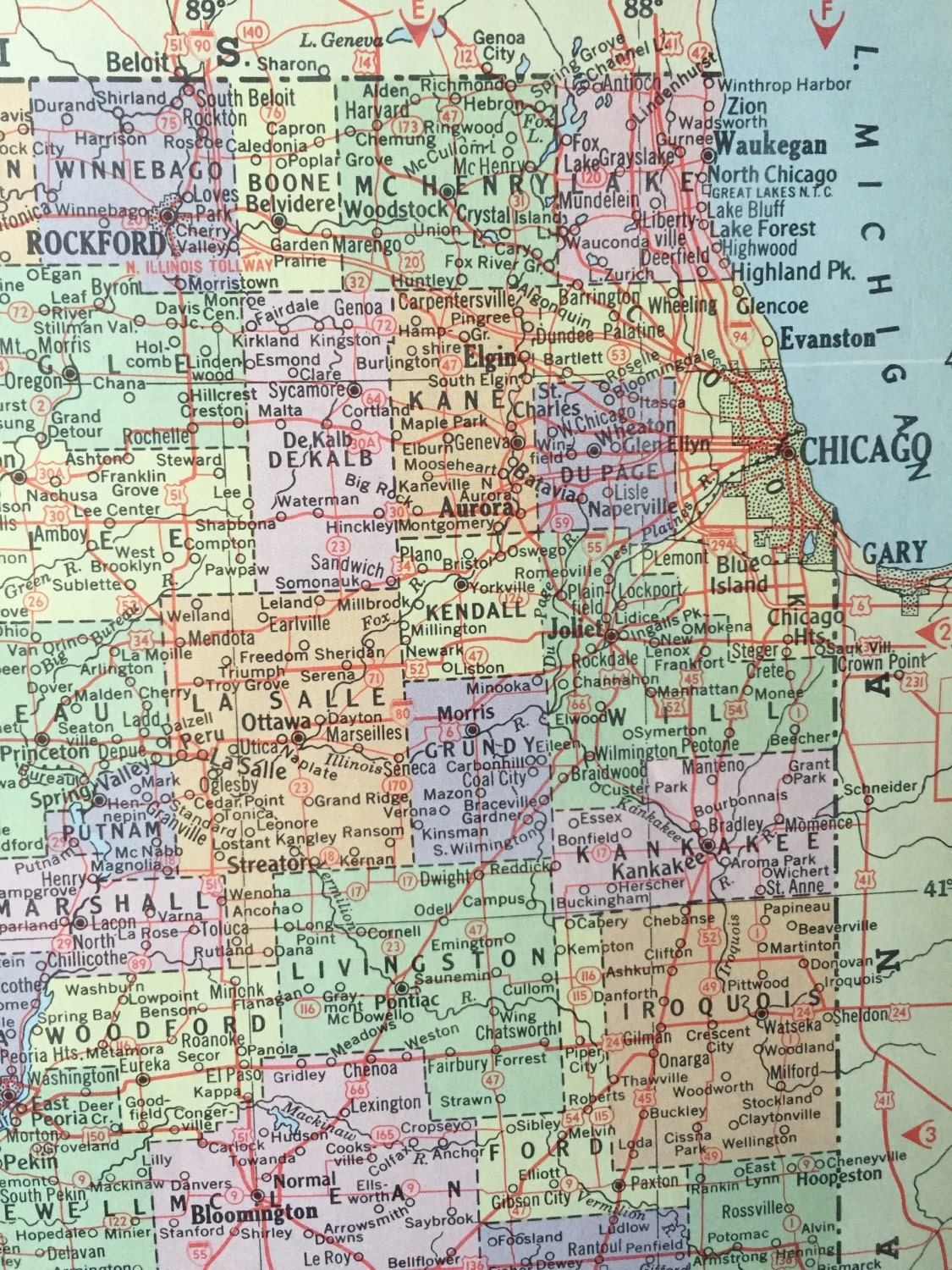 Vintage 1965 hammonds world atlas map page idaho on one side and sold by greenbasics gumiabroncs Image collections