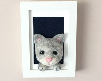Needle Felted Cat 3D Picture - Needle felt - Needlefelted - OOAK