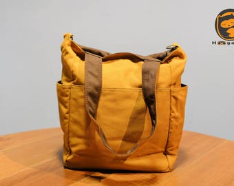 Sale - Mustard Yellow Canvas Bag - diaper bag, tote, purse, cross body bag, stylish - Luna
