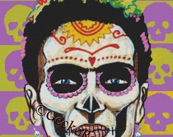 Mexican Folk Art,  Day of the Dead Cross Stitch Kit, Heather Galler Art, Dia De Muertos, Counted Cross Stitch Set, Point De Croix