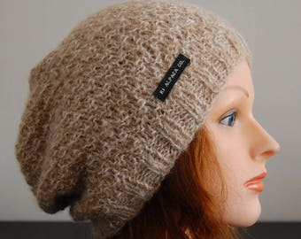 Natural RIAF Soft Warm Hand Crafted Alpaca Slouchy Beanie Hat, Tan and White