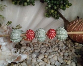 "5 handmade clay sea urchin beads 3 Mint Blue Green 2 Coral Sea Urchin beads 5/8"" for jewelry ceramic porcelain - by Earth N Elements Pottery"
