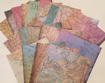 "CardStock Map Pages / 20 Sheets 6"" x 6"" Uncharted Map Sheets Card stock Paper"