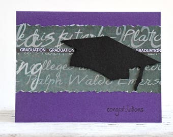 Graduation Congratulations Card in Purple and Black, College and High School Graduation, Handmade Greeting Notecard with Graduation Cap