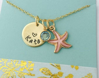 Starfish Necklace, Kids Name Necklace, Beach Necklace, Beach Jewelry, Personalized Beach Necklace