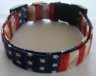 Patriotic 4th of July American Flag USA Dog Collar