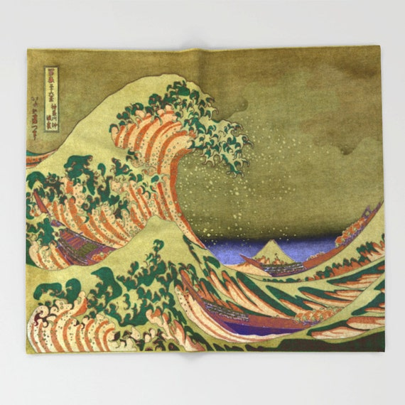 Version Of The Great Wave Off Kanagawa Throw Blanket, Super Soft Blanket, Home Decor, Ocean Waves, Coastal Blanket, Office Throw, Dorm