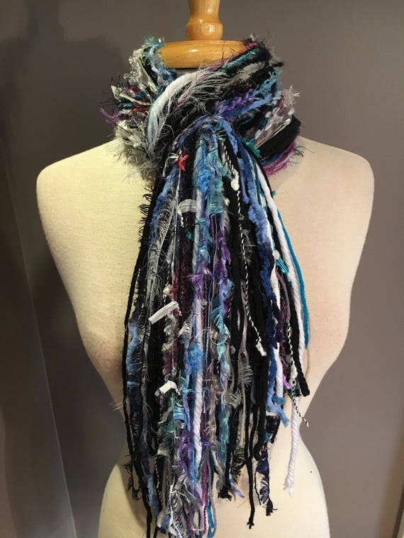 Fringie in Snowbound, All Fringe Scarf, Handmade hand-tied art fringe scarf in teal purple black, bohemian, gifts, long scarf, fur