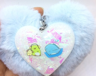 Resin Heart with Puffy Heart Keychain