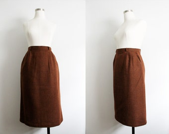 """1980s Brown """"TOMBOY"""" Wool Skirt with front pockets"""