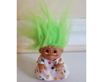Vintage Dam Norfin Troll, Green Hair Troll, Dam Troll, Norfin Troll, Rubber Troll, Troll Doll, Circus Troll, Vintage Toys, 1980s