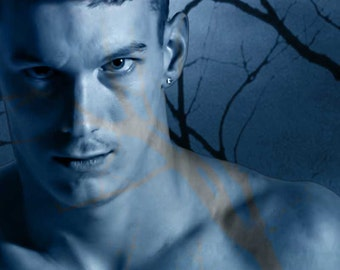 Legend of the Phantom Swordsman Version 3 Gay Art Male Art Photo Print by Michael Taggart Photography shirtless monochromatic blue warrior