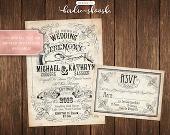 Steampunk Vintage Tattoo Wedding Invitations