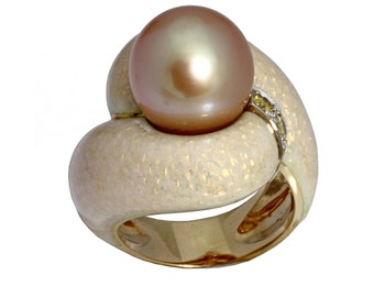 18 karat yellow gold golden cultured pearl and yellow diamond ring with enamel